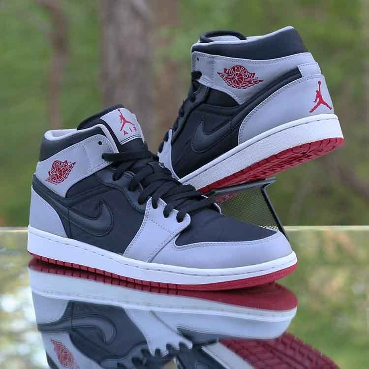 for whole family cheapest price buy cheap Air Jordan 1 Mid Black Gym Red Wolf Grey 554724-012 Men's ...