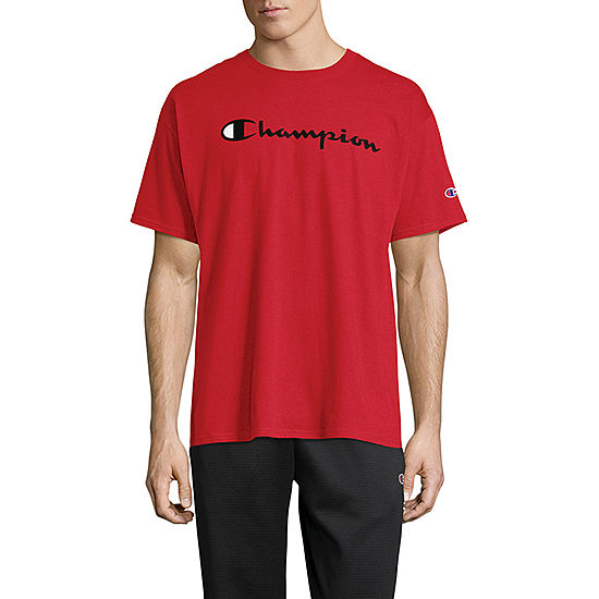 Champion Crew Neck Mens Short Sleeve Top Red