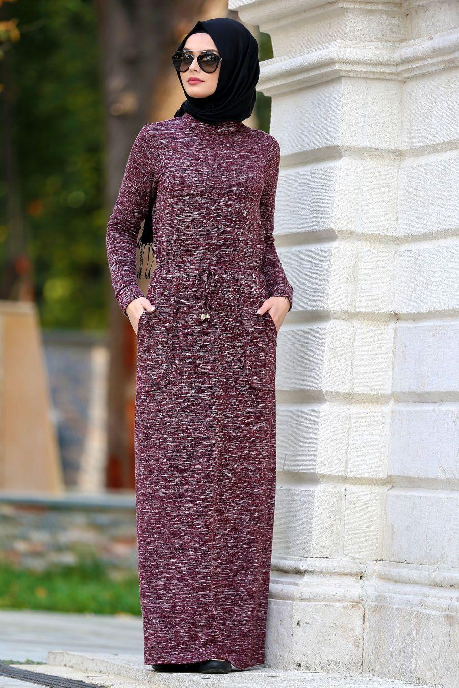 ad88d167c1c06 2018 Yeni Sezon Günlük Elbiseler - Neva Style - Belden Büzgülü Bordo Tesettür  Elbise 22091BR