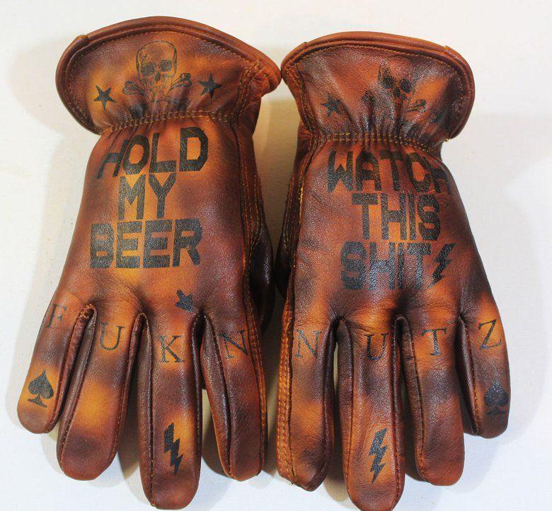 Tattooed And Branded Gloves Greezmunky Kustoms Leather Gloves Biker Gloves Gloves