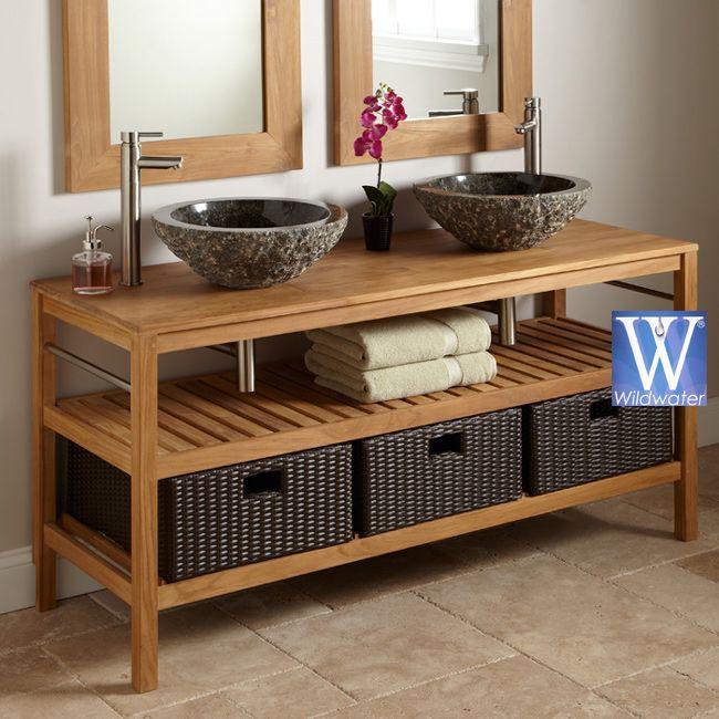 Teak Bathroom Vanity Junior. Like Teak. Different Sink Shown Below. Pipes  Hidden As