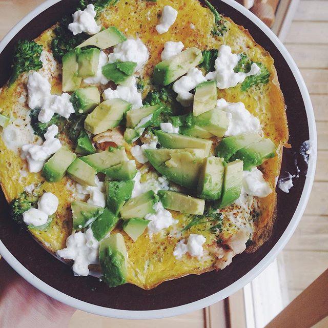 Frokost: omelett med 3 egg, brokkoli, kylling-skinke, avokado, cottage cheese, pepper og salt.  #matinspo #suntoggodt #breakfast #goodforyou