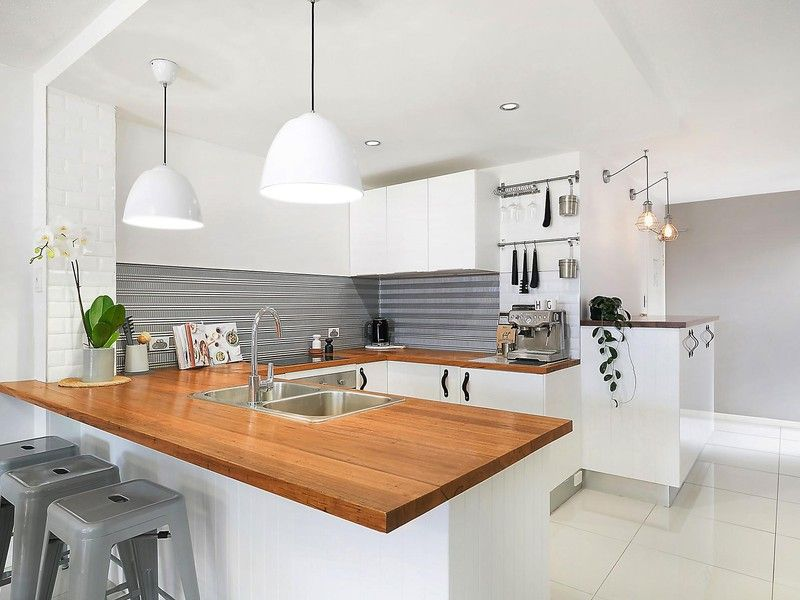 Kitchen Renovation U Shaped Design Timber Benchtops Pressed Tin Metal Splashback Leather Handles Modern Unit