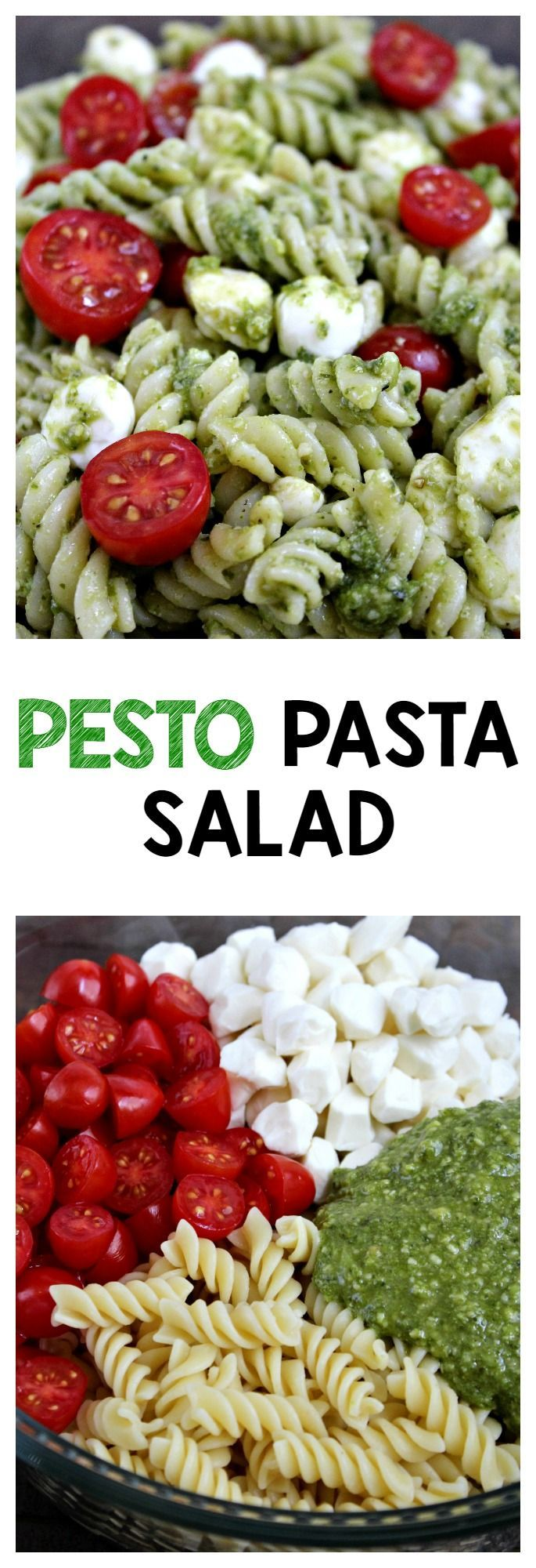 Pasta Salad is the perfect quick and tasty side dish! Made with flavorful pesto, spiral noodles, fresh mozzarella and juicy cherry tomatoes.