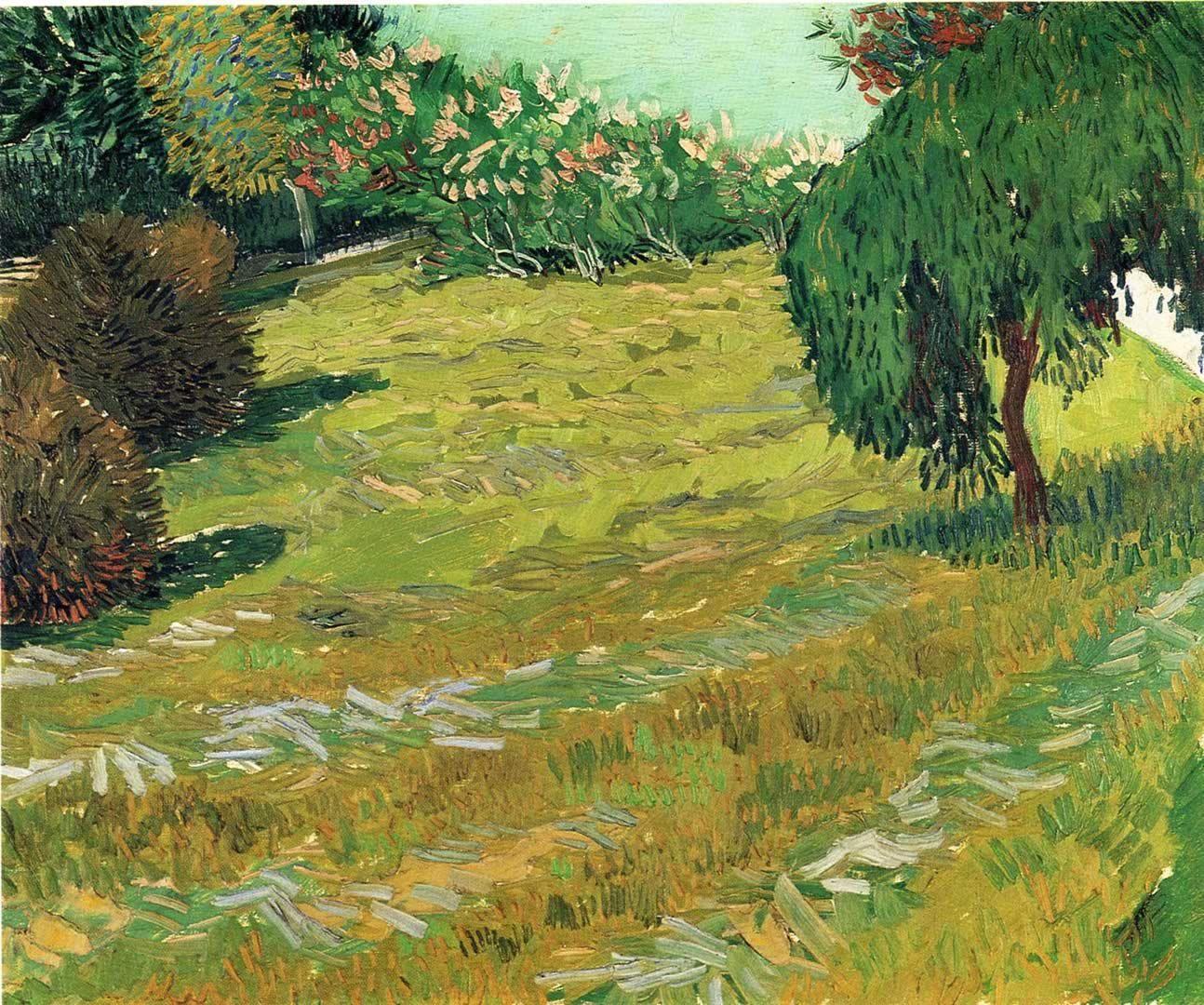 Sunny Lawn in a Public Park. Van Gogh. July 1888. Arles. Oil on ...