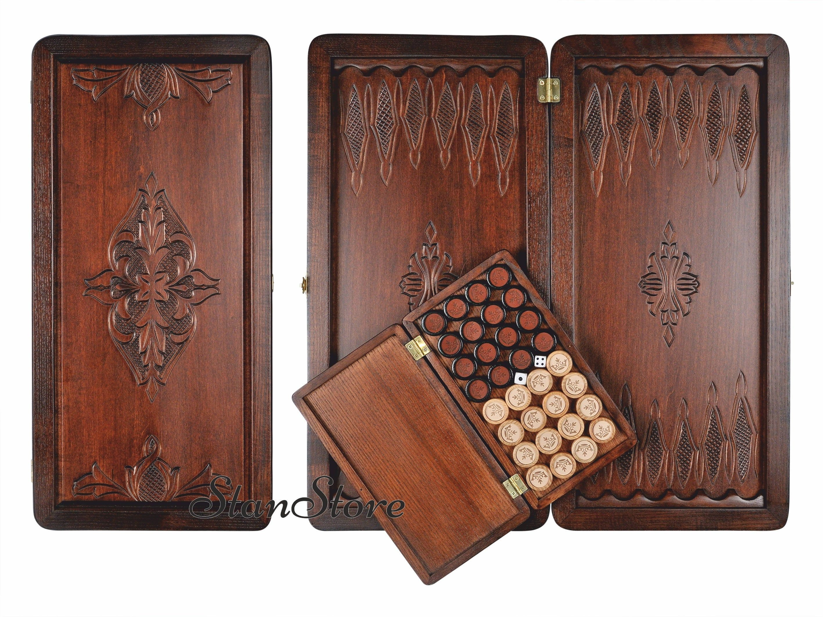 Backgammon Set with Stones Dice Personalized gift Wooden
