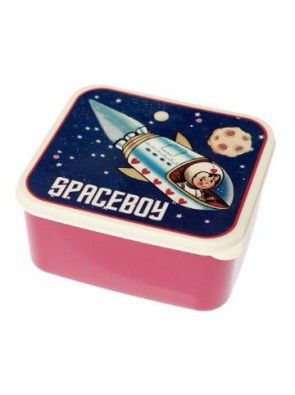 Spaceboy plastic lunch box with push on lid.