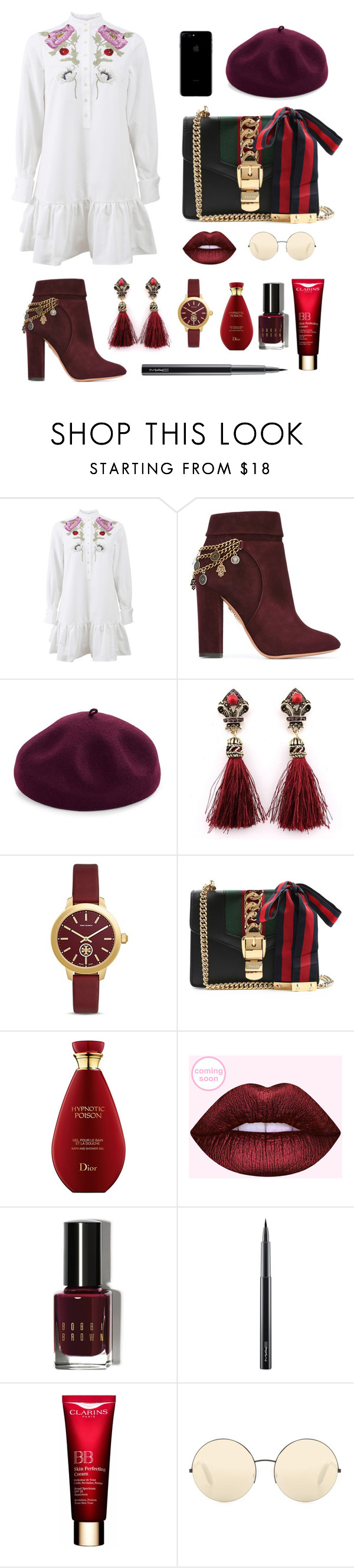 """NYFWSTYLE"" by thisisfashionguide ❤ liked on Polyvore featuring Alexander McQueen, Aquazzura, Kathy Jeanne, Tory Burch, Gucci, Bobbi Brown Cosmetics, MAC Cosmetics and Victoria Beckham"