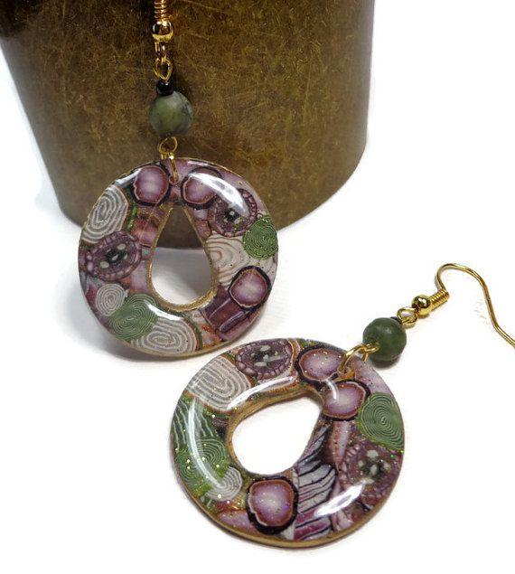 Bohemian Hoop Earrings-Resin Earrings Polymer clay by BeadazzleMe