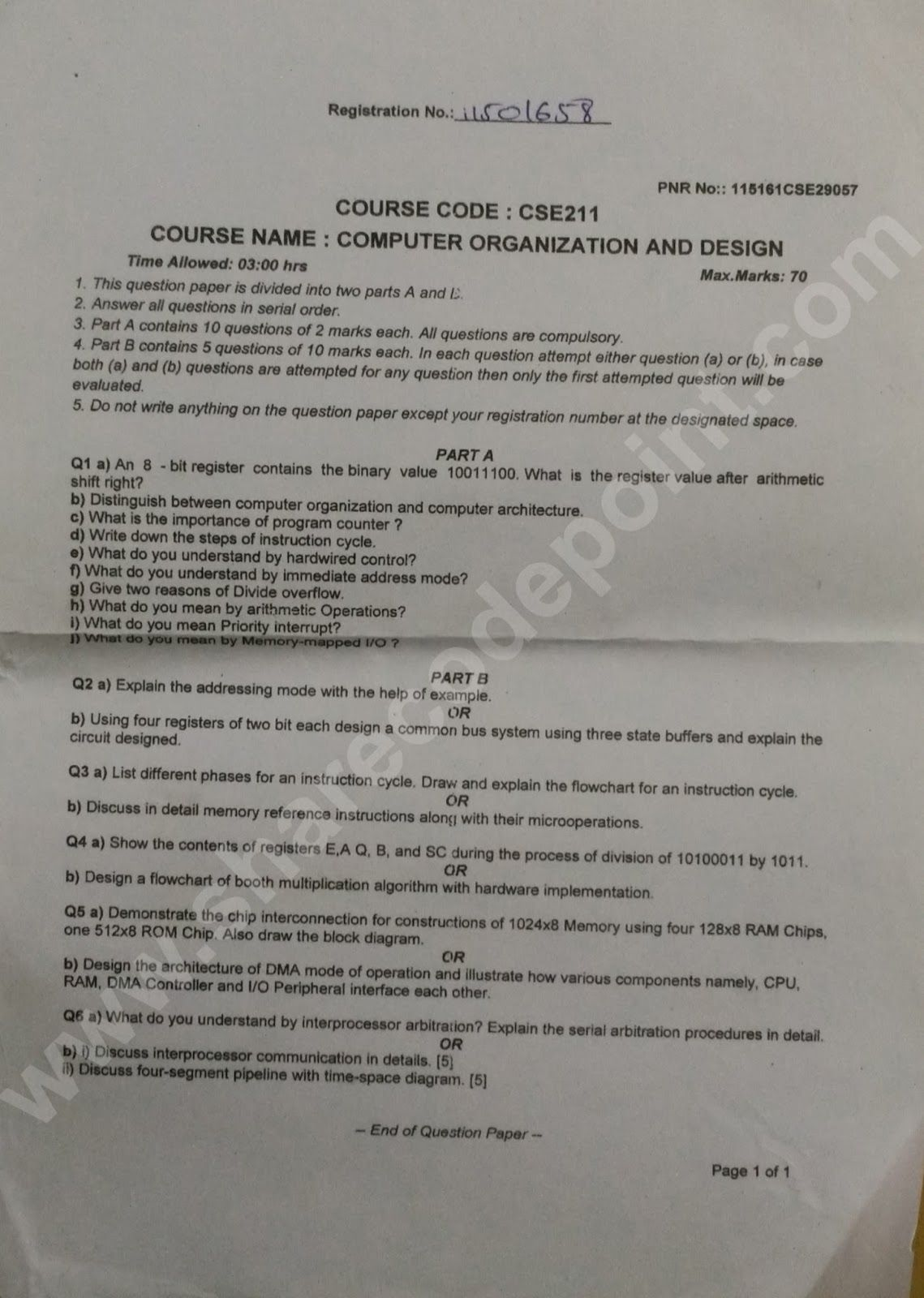 Cse211 Computer Organization And Design End Term Exam Question Paper Cse 211 Lpu Question Paper This Or That Questions How To Can Tomatoes