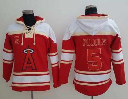 1163eb1b2ea Angels of Anaheim  5 Albert Pujols Red Sawyer Hooded Sweatshirt MLB Hoodie