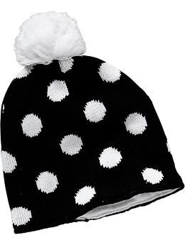 Patterned Pom-Pom Sweater Hats for Baby
