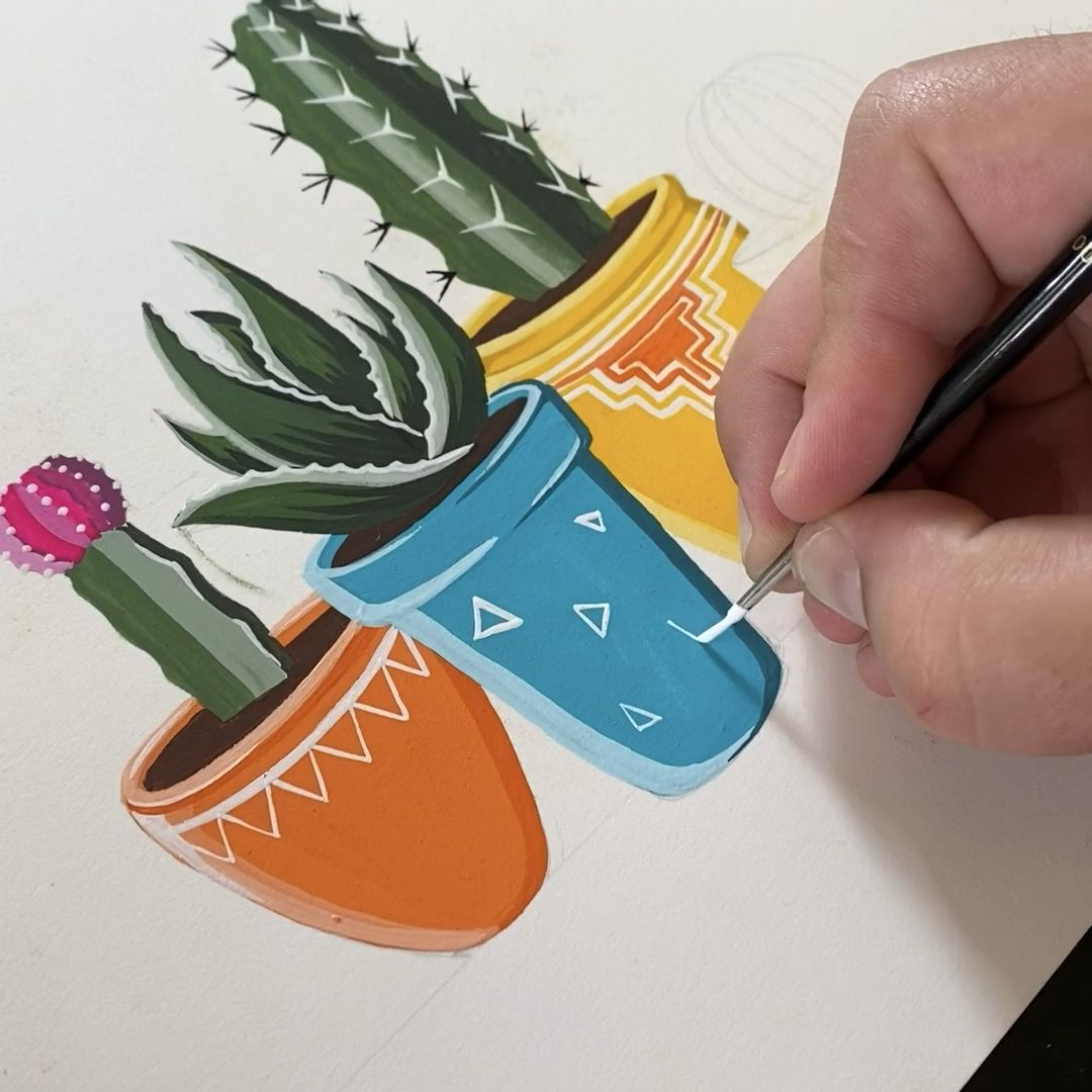 Gouache Painted Potted Cacti and Desert Plants by Philip Boelter