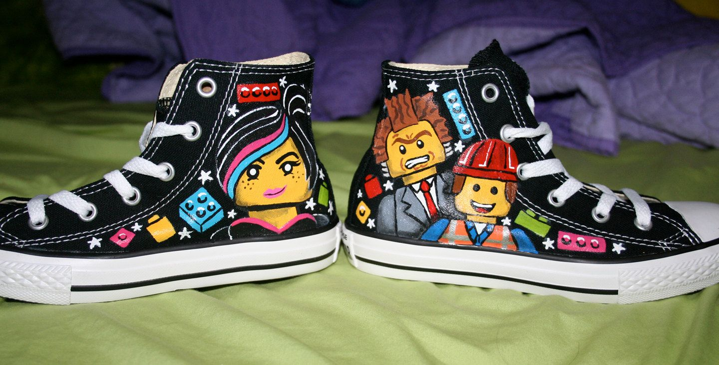 a5584fd88be LEGO MOVIE Inspired Custom CONVERSE High Tops Any Size Unisex ...