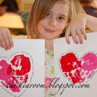 Hand print Valentines. Make for parents and write letters to go on the back.