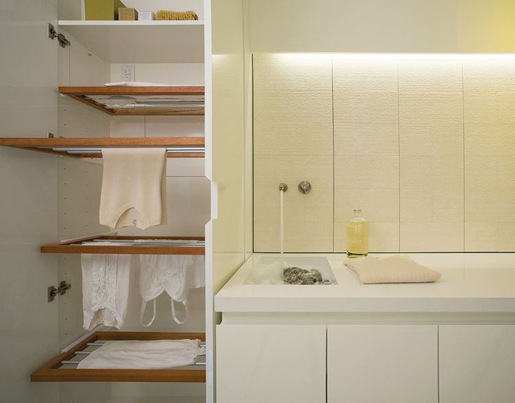 Modern Laundry Room With Hidden Custom Drying Rack Drying Room