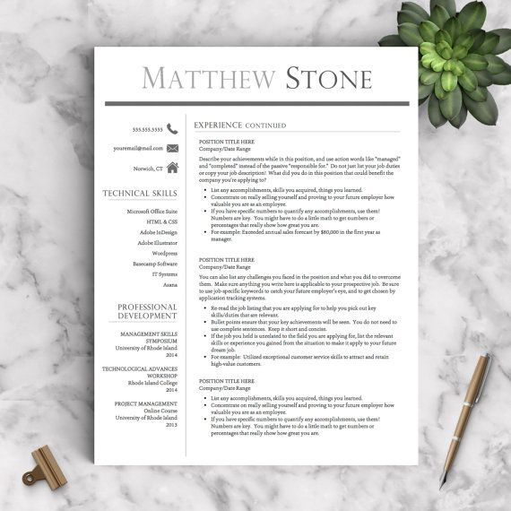 Professional Resume Template for Word  Pages One, Two and Three - download resume template