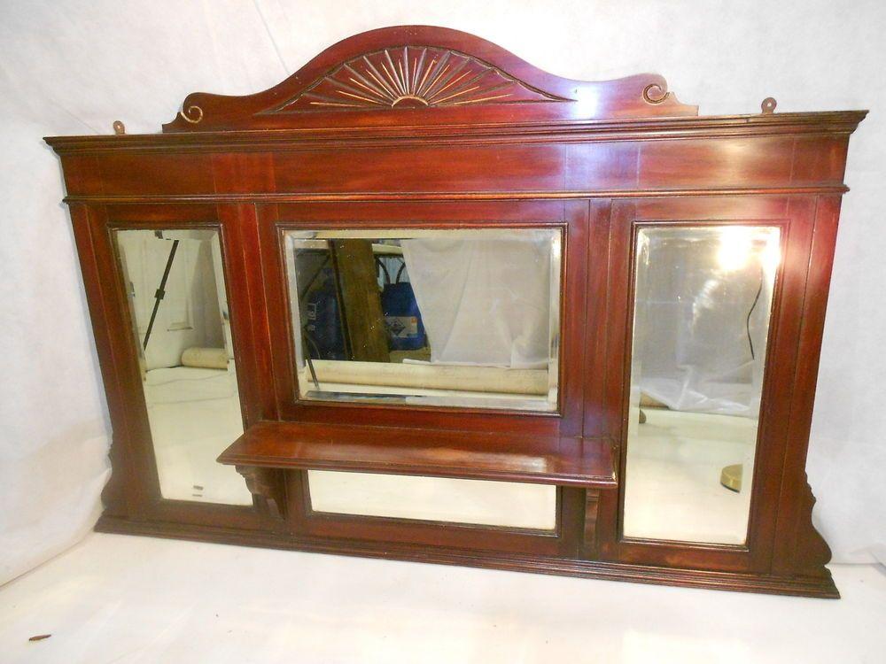 Antique Overmantle Mirror C1870 90 Victorian Mahogany Wall Mirror