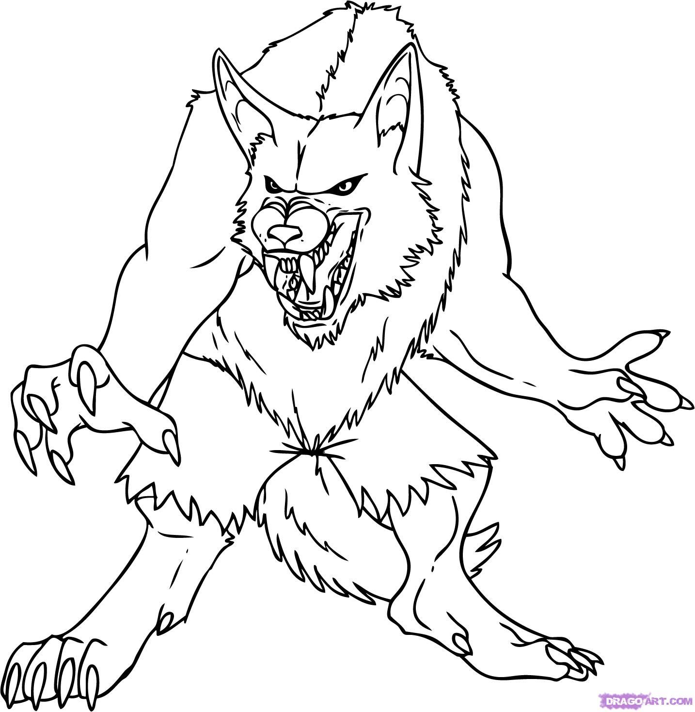 How To Draw A Cartoon Werewolf Step By Step Werewolves Monsters Free Online Drawing Tutorial Added B Monster Coloring Pages Animal Coloring Pages Werewolf