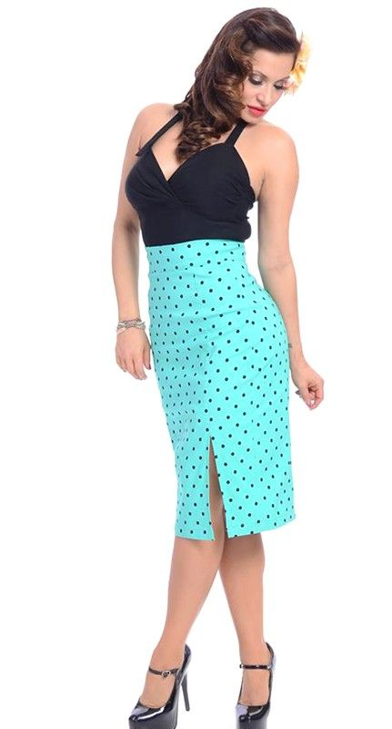 Steady Clothing Polka Dot Pencil Skirt in Mint | Blame Betty
