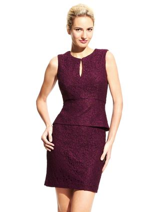 Adrianna Papell Mulberry Keyhole Peplum Lace Dress | Look Book ...