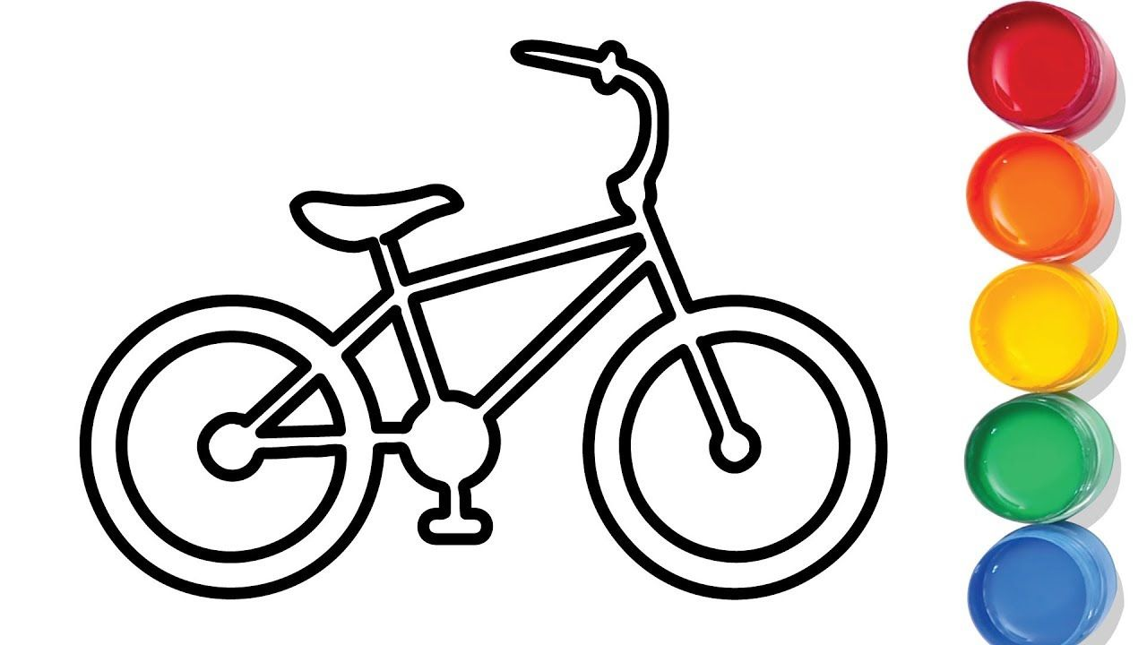 Easy Bicycle Drawing And Coloring For Kids Bicycle Drawing