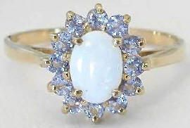 Opal and Tanzanite Ballerina Ring in 14k yellow gold