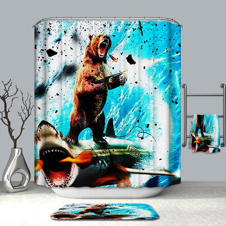 Awesome Bear Riding Shark Shower Curtain Surf Bathroom Shark Shower Curtain Shower Curtain Cool Shower Curtains