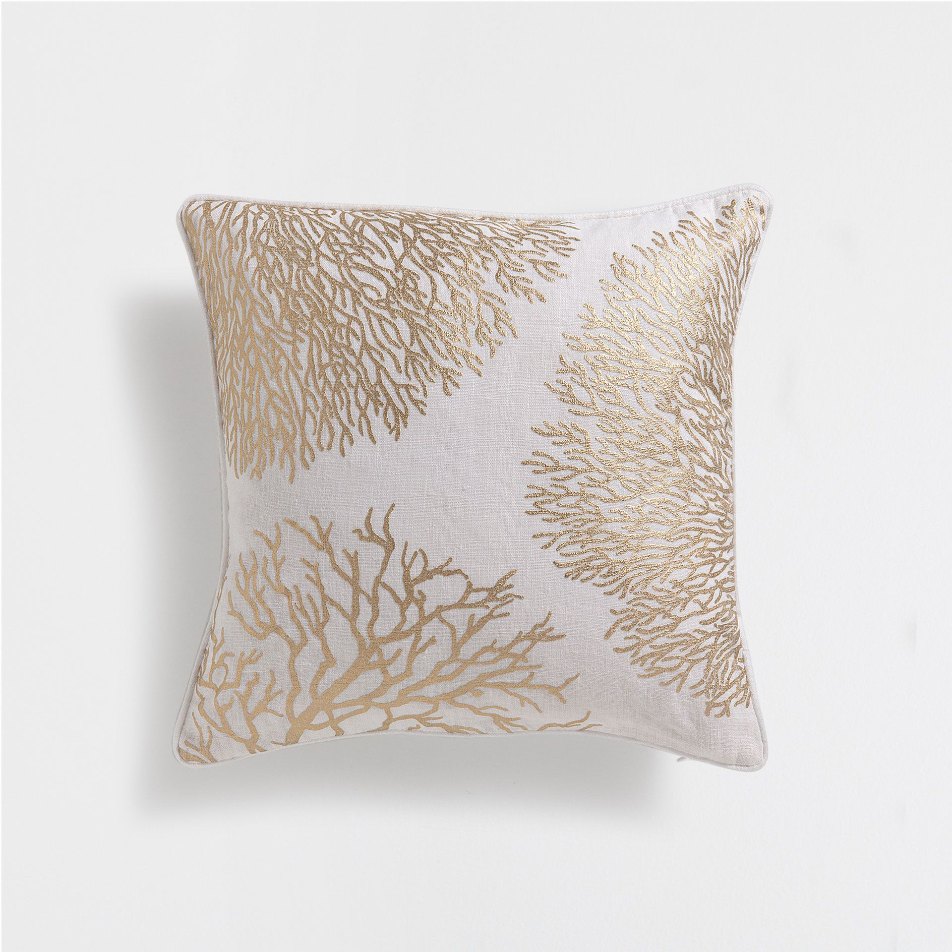 CORAL PRINT LINEN CUSHION COVER Cushions Bedroom