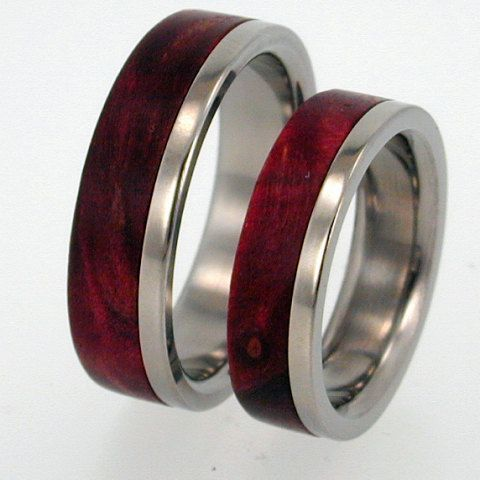 Titanium with Interchangeable Wood Inlay Ring Set Special option