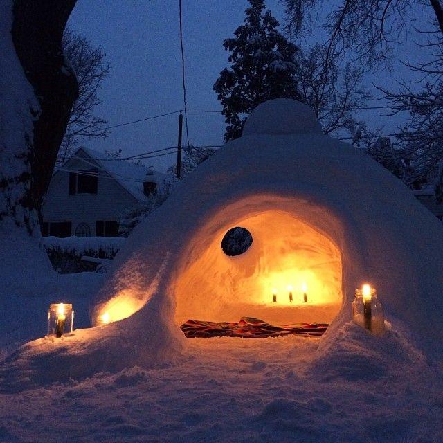 Homemade snow cave