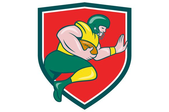 American Football Running Back Charging Crest CartoonIllustration of an american football gridiron player running back charging with ball viewed from the side set inside shield crest on isolated background done in cartoon style. #cartoonillustration #AmericanFootball