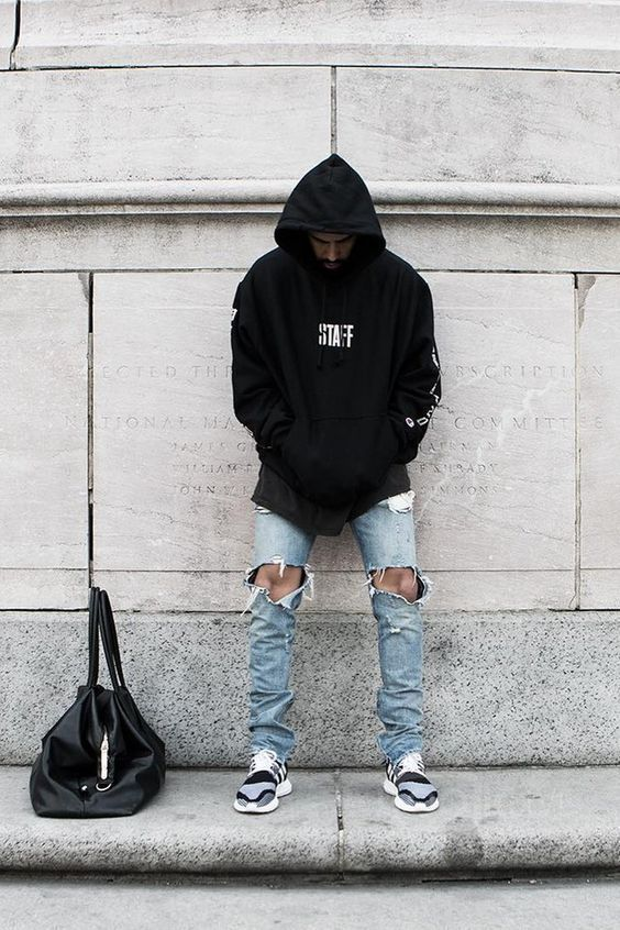 0a8dc602259 Simplicity at its best in Black Hoodie, Light Blue Ripped Jeans and a pair  of Black Grey Shoes