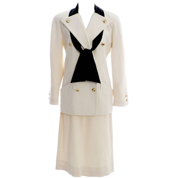 Preowned Vintage Valentino Winter White Wool Skirt Suit Black Silk... ($450) ❤ liked on Polyvore featuring suits and white