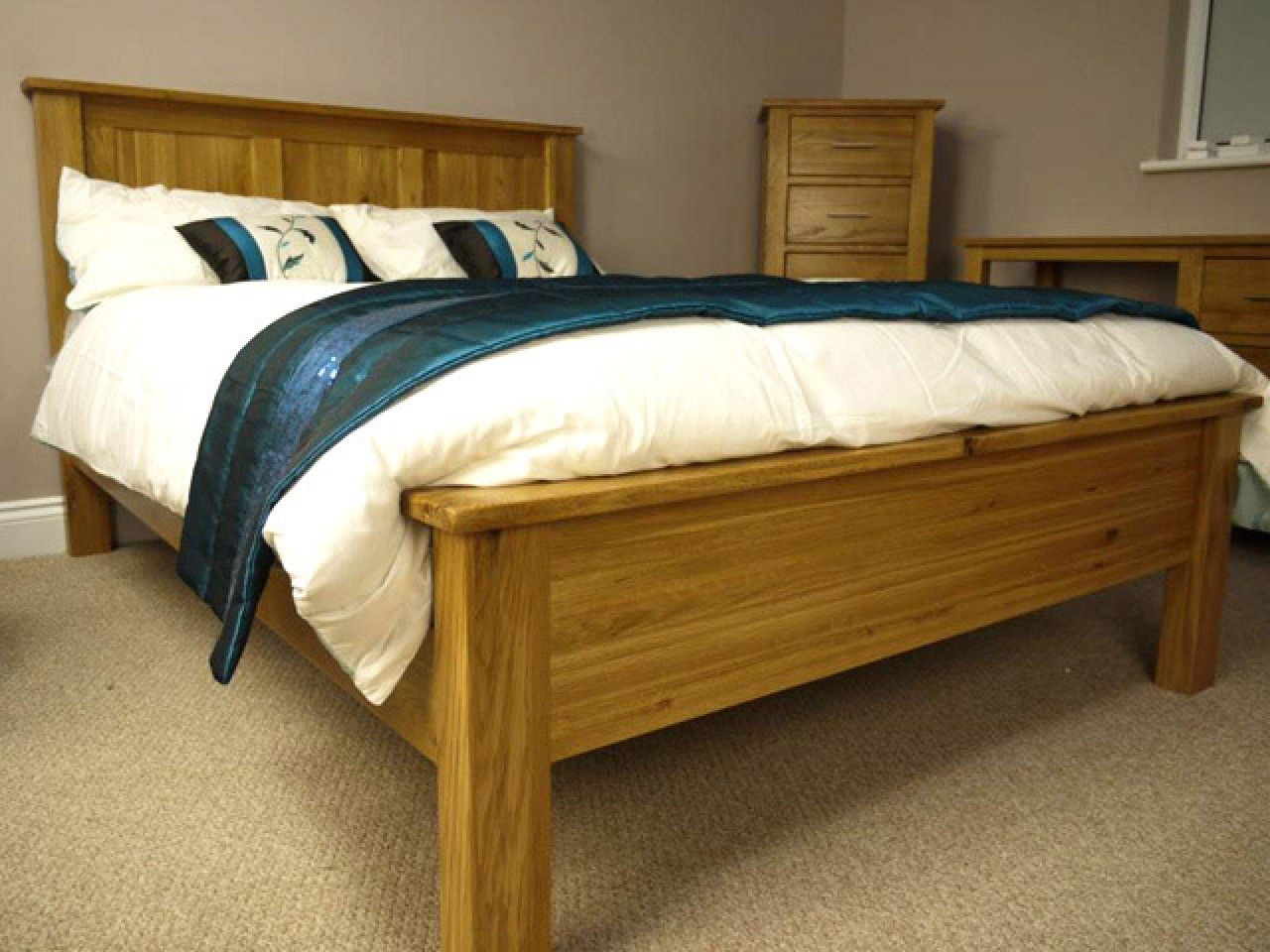 wooden double bed frame - Wood King Bed Frame