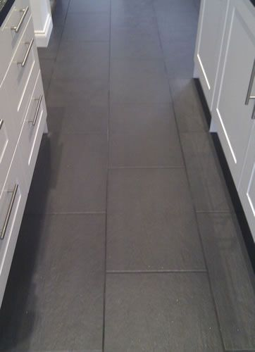 Slate Nero Floor Tiles With Dark Anthracite Grout Grey Kitchen