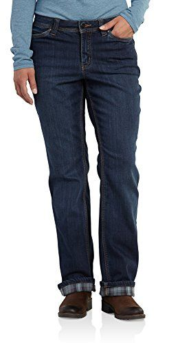 8a40950583e Carhartt Womens Relaxed Fit Denim Flannel Lined Boone JeanAuthentic  Indigo16     You can find more details by visiting the image link.