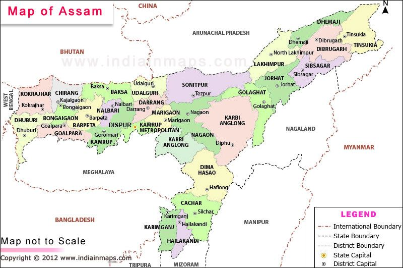 Assam Location Map Political Map State Map Location Map