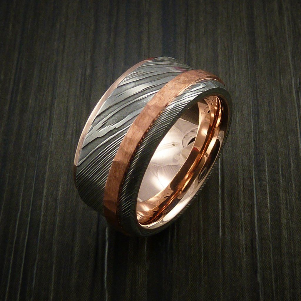 Damascus Steel 14k Rose Gold Ring Wedding Band With Hammered Copper Inlay Revolution Jewelry 5