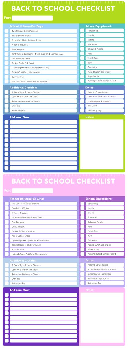 Back To School Everything You Need Checklist School and Childcare