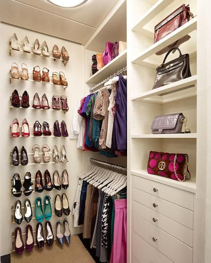 Delightful Closet With Shoe Rails For Storage Mounted On A Wall