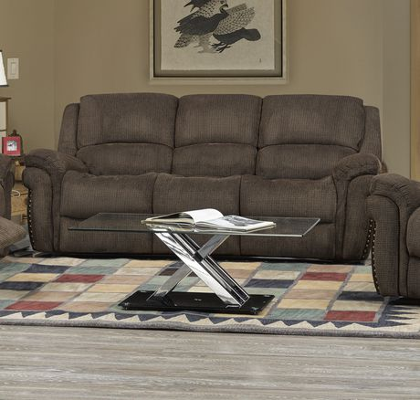 Brassex Inc Edward Recliner Sofa With Fold Down Tray Built In Cup Holders Brown Brown Reclining Sofa Sofa Sale Sofa