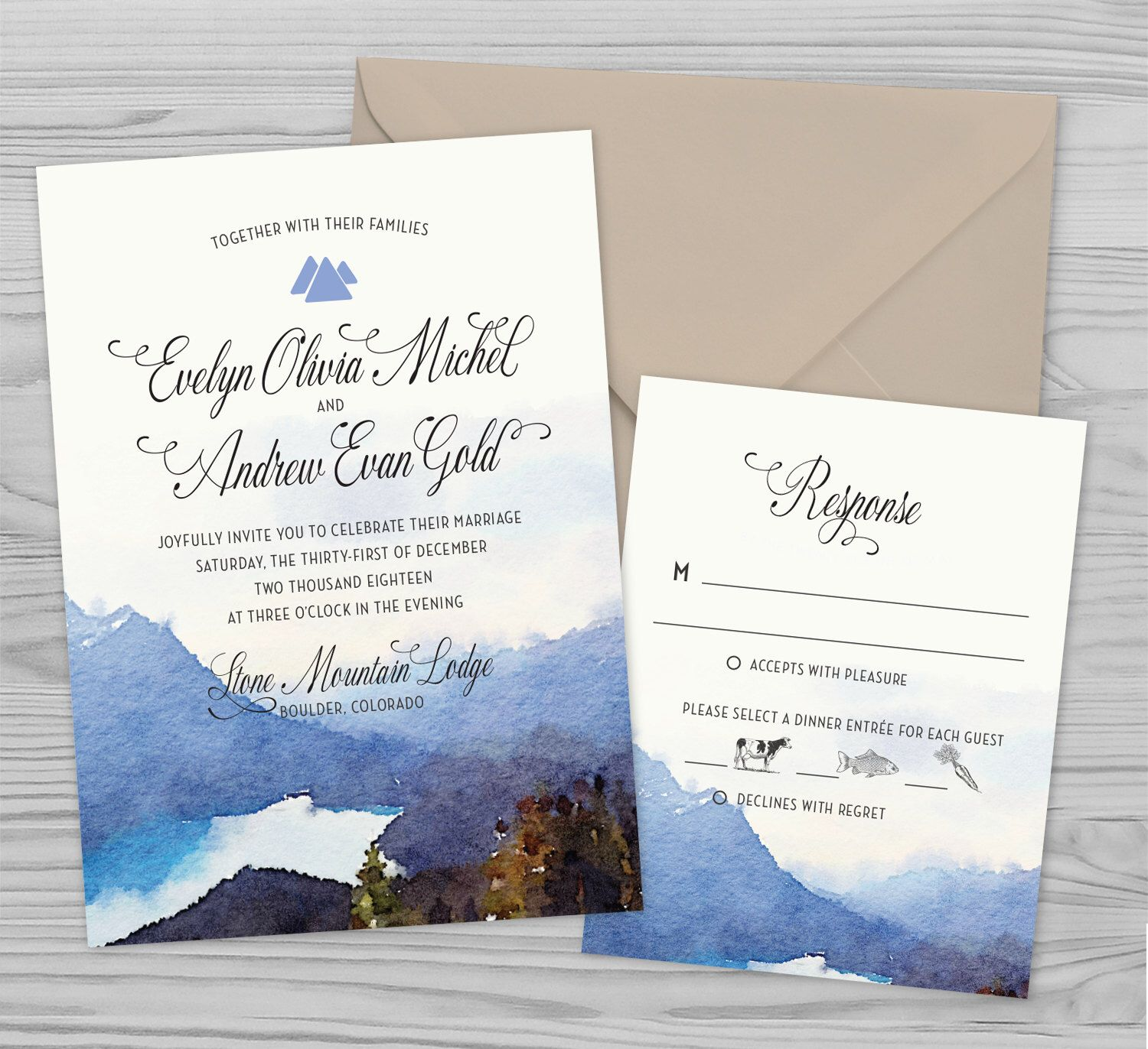 Printable Wedding Invitation - Watercolor Mountains - Customizable ...