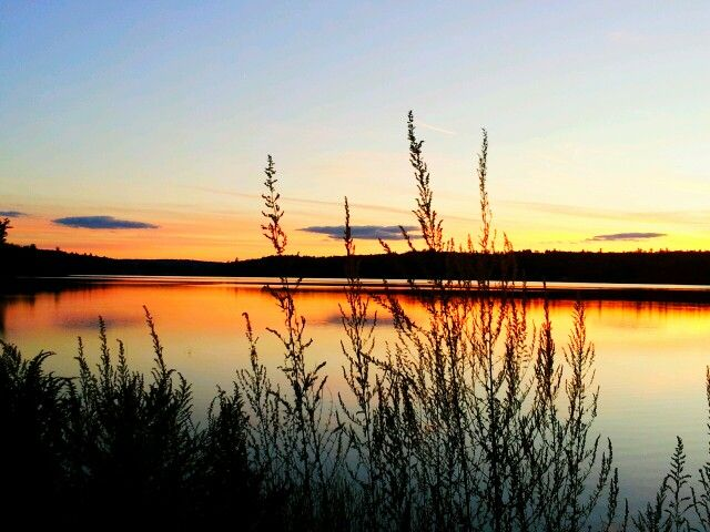 Sunset over Middle Range Pond in Poland, Maine