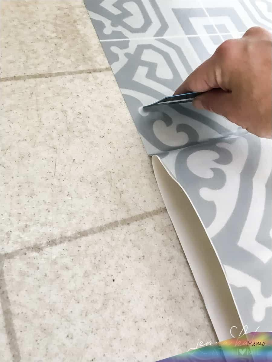 Oct 17 2018 How To Install Diy Vinyl Peel Stick Moroccan Tile These Are A Quick And Easy Way To Cov In 2020 Laundry Room Flooring Room Flooring Linoleum Flooring