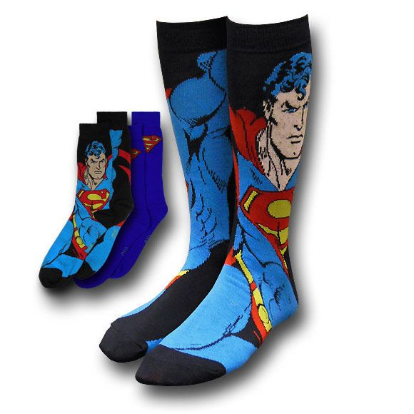 Superman Image and Symbol Blue Socks 2-Pack