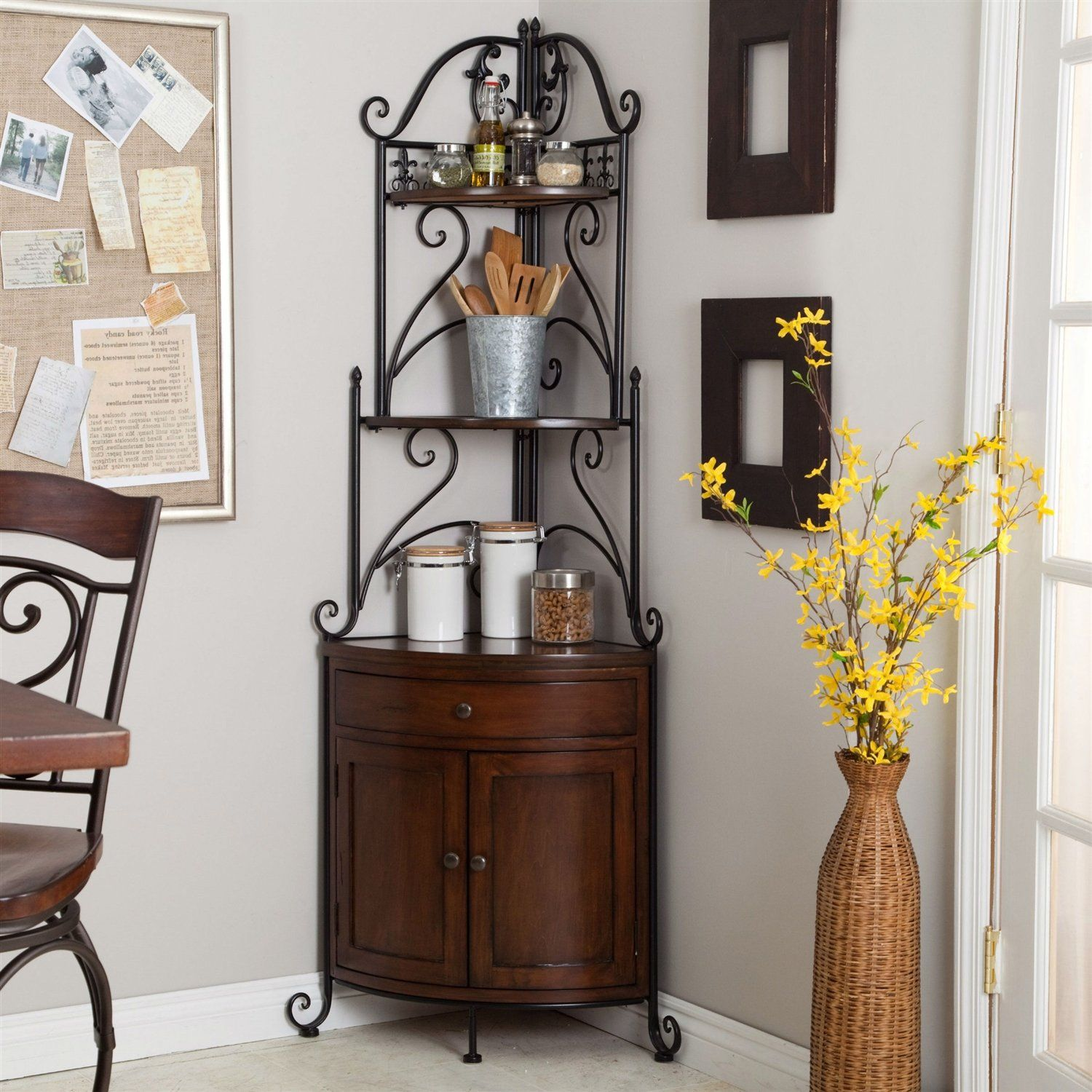 Corner Bakers Rack With Wrought Iron Frame And Wood Storage
