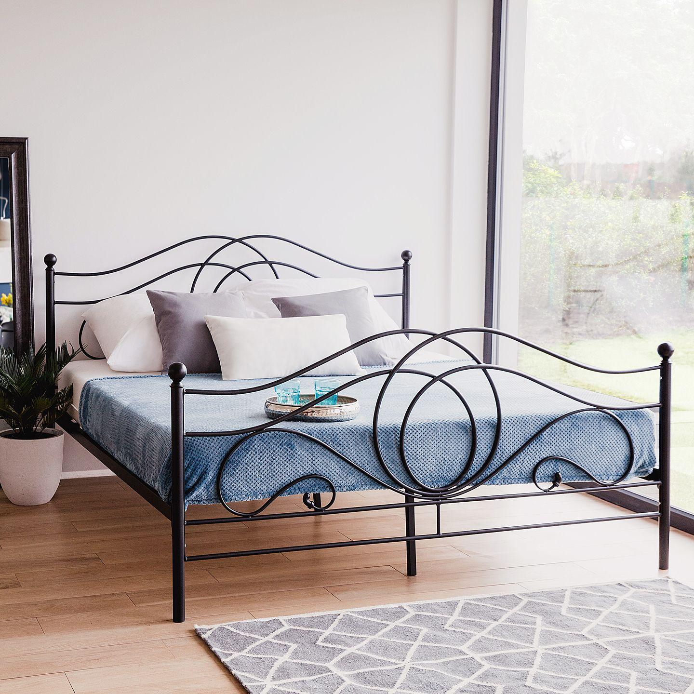 Metal Bed King Size Bed Frame 160x200 cm Black