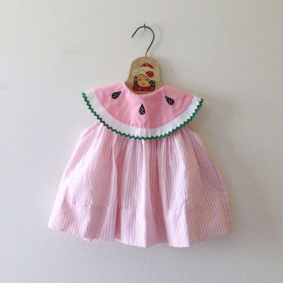 4637d8f7b4e Vintage Watermelon Collar Seer Sucker DressSize by frolickingwren