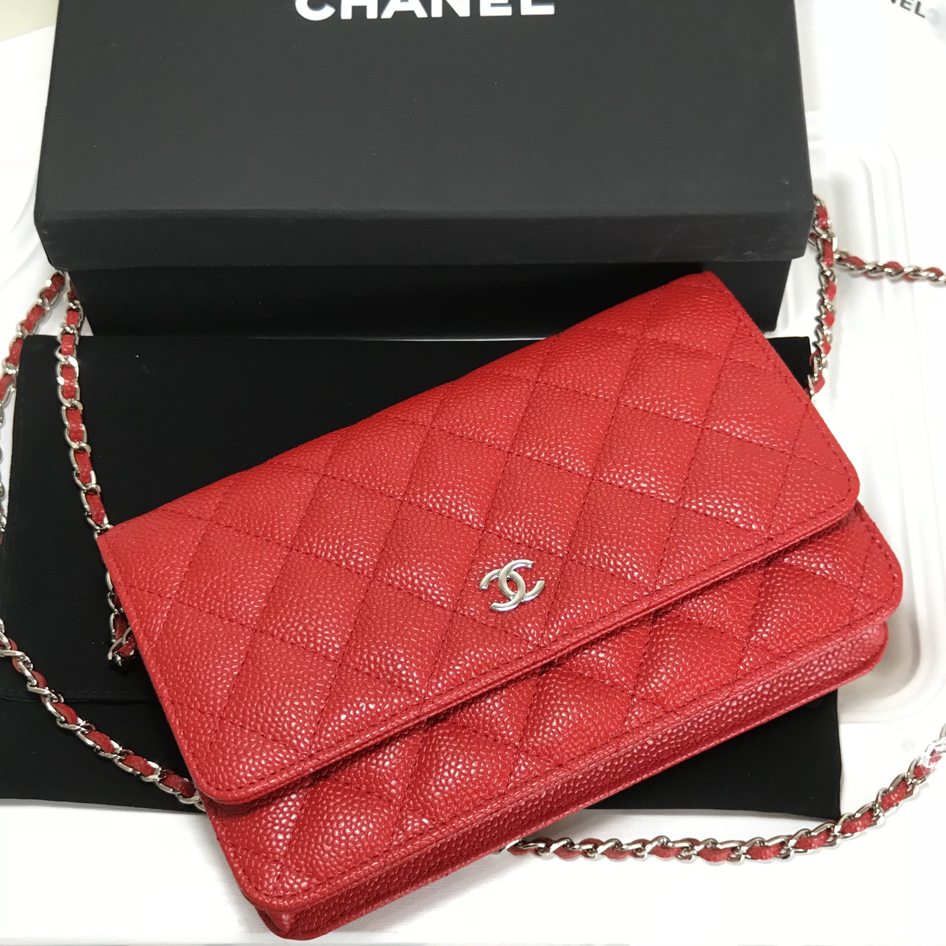 b589a618 Chanel red caviar WOC wallet of chain original leather version ...